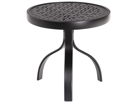 Woodard Deluxe Aluminum 18 Round End Table Lattice Top PatioLiving