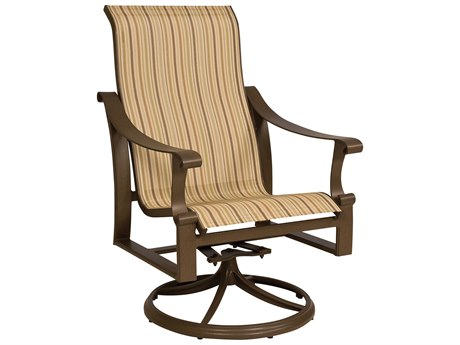 Woodard Bungalow Sling Aluminum High Back Swivel Rocker
