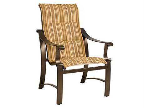Woodard Bungalow Padded Sling Aluminum High Back Dining Chair