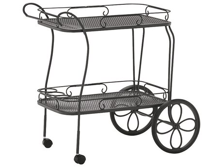 Woodard Wrought Iron Mesh Top Tea Serving Cart with Removable Serving Tray