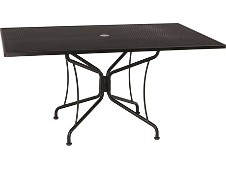 Woodard Wrought Iron Mesh 60''W x 42''D Rectangular 8 Spoke Dining Table with Umbrella Hole