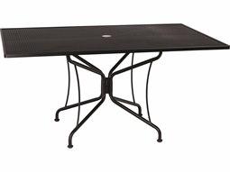 Woodard Wrought Iron Mesh 60''W x 42''D Rectangular 8 Spoke Dining Table with Umbrella Hole