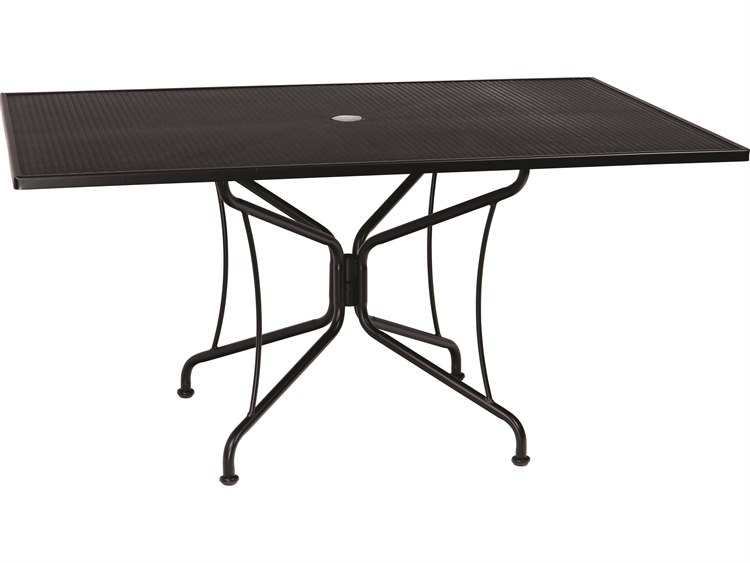 Woodard Wrought Iron Mesh 60''W x 42''D Rectangular 8 Spoke Dining Table with Umbrella Hole PatioLiving