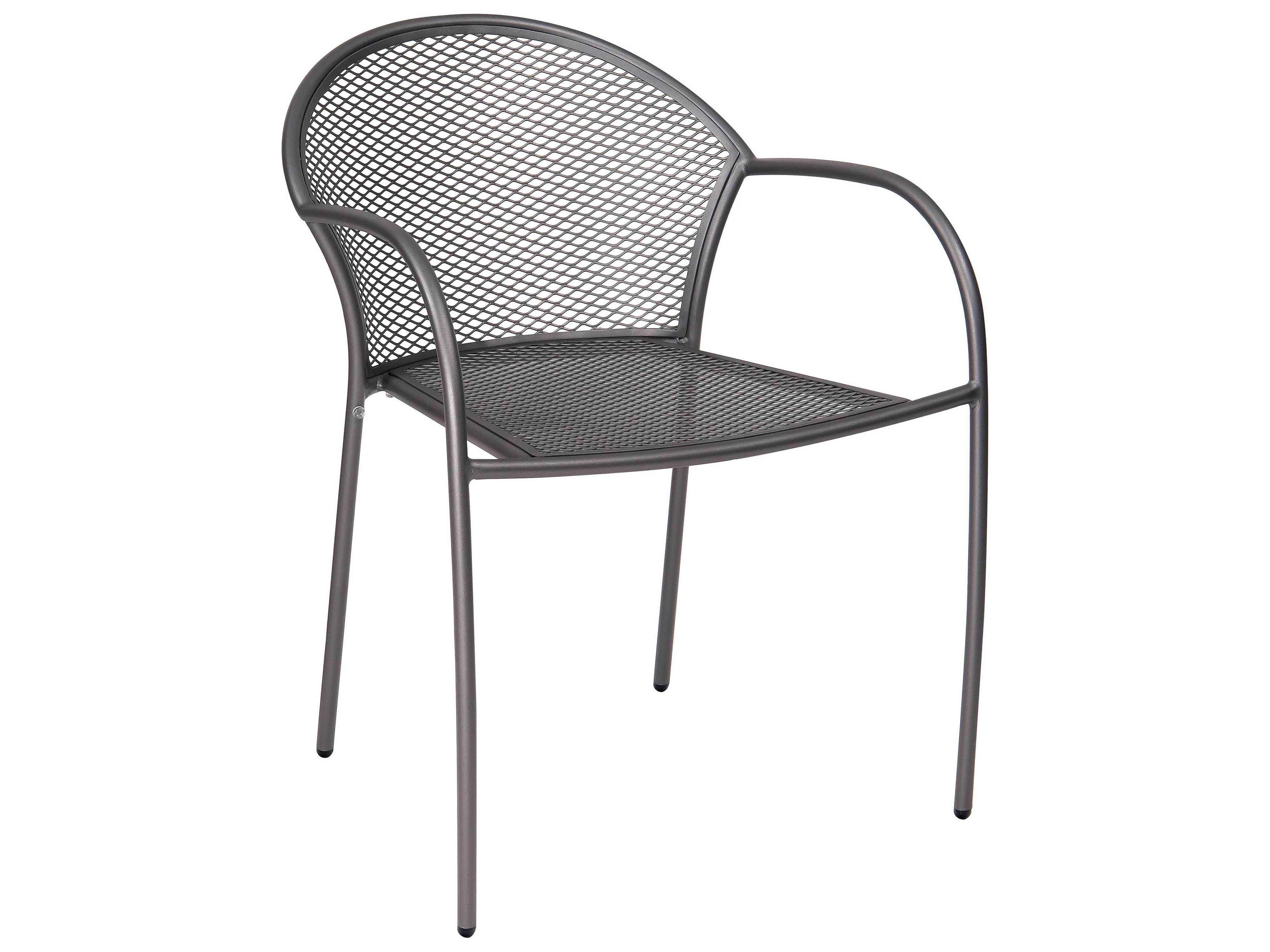 Woodard carmel wrought iron stacking arm chair d