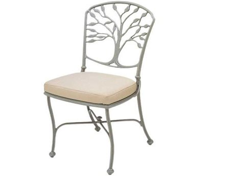 Woodard Heritage Cast Aluminum Dining Side Chair with Loose Cushion