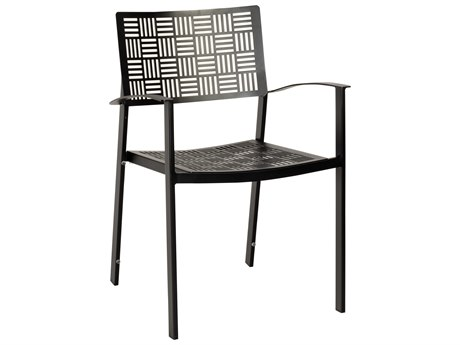 Woodard New Century Wrought Iron Dining Arm Chair - Stacking