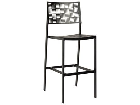 Woodard New Century Wrought Iron Bar Stool w/ Seat Cushion