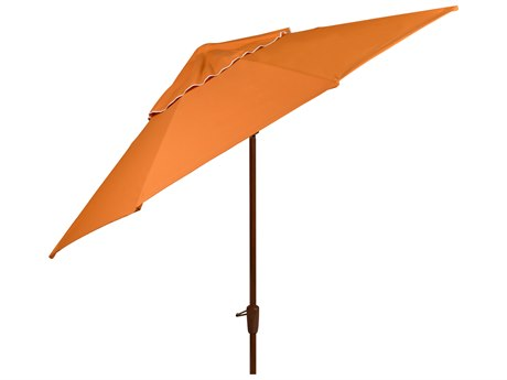 Woodard 9 Aluminum 8 Rib Crank Lift Autotilt Market Umbrella - Dark Wood