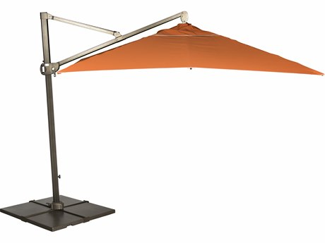 Woodard Aluminum 9 Foot Round Cantilever Umbrella with Base