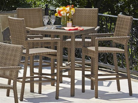 Woodard Whitecraft All Weather Dining Wicker Bar Set