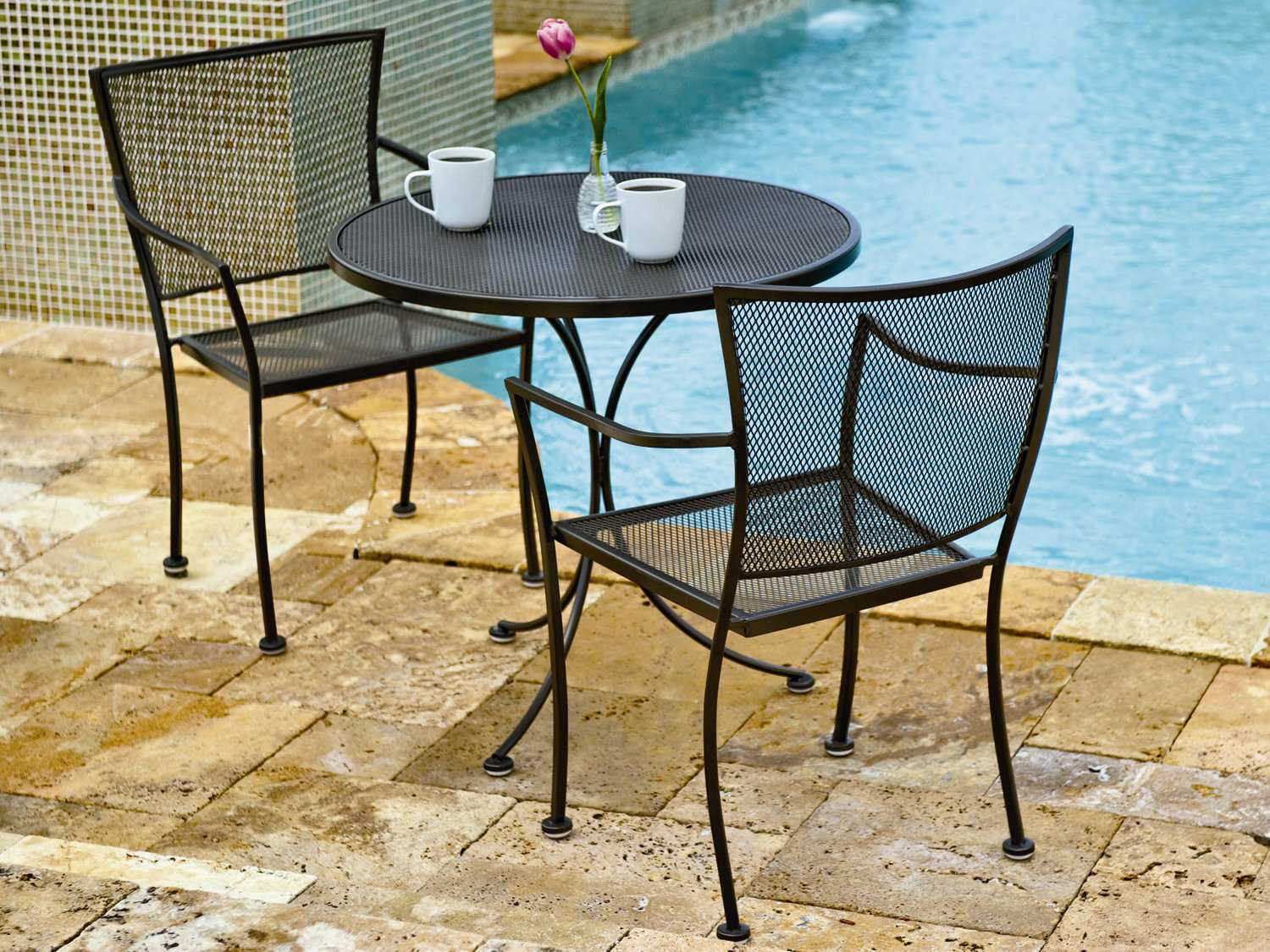 Woodard amelie wrought iron bistro set ambsl for Woodard outdoor furniture