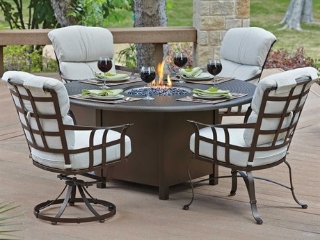 Woodard Atlas Wrought Iron Dining Set with Fire Pit