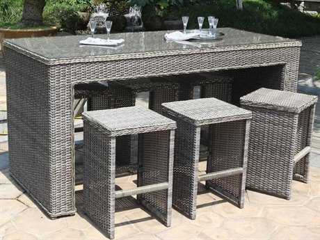 Woodard Bay Shore Wicker Bar Set