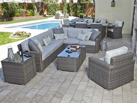 Woodard Bay Shore Wicker Sectional Lounge Set