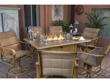 Woodard Belden Padded Sling Aluminum Fire Pit Counter Set