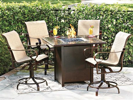 Woodard Belden Sling Aluminum Counter Set with Fire Pit
