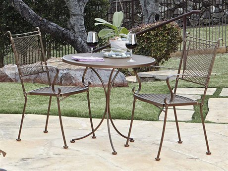 Woodard Bradford Mesh Wrought Iron Bistro Set