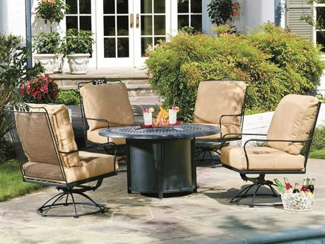 Woodard Briarwood Wrought Iron Fire Pit Lounge Set