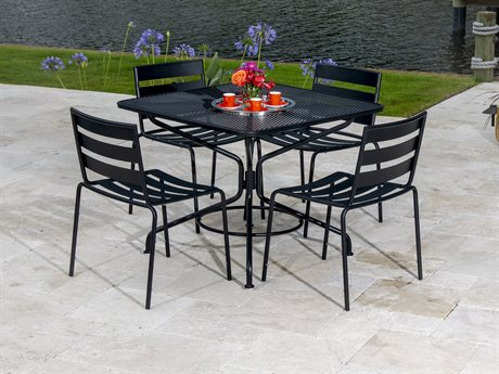 Woodard Cafe Series Textured Black Wrought Iron Dining Set