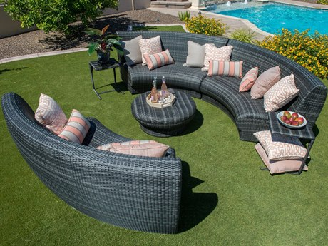 Canaveral Wicker Charcoal Gray Curved Lounge Set