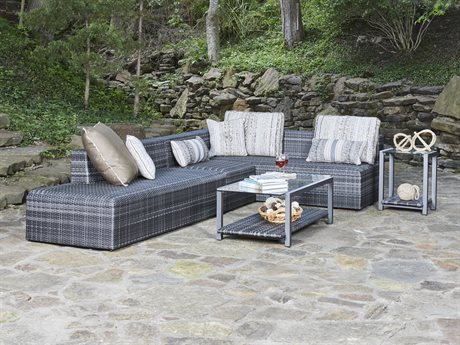 Woodard Canaveral Wicker Charcoal Gray Sectional Lounge Set