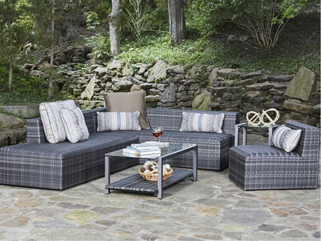 Woodard Canaveral Wicker Sectional Lounge Set