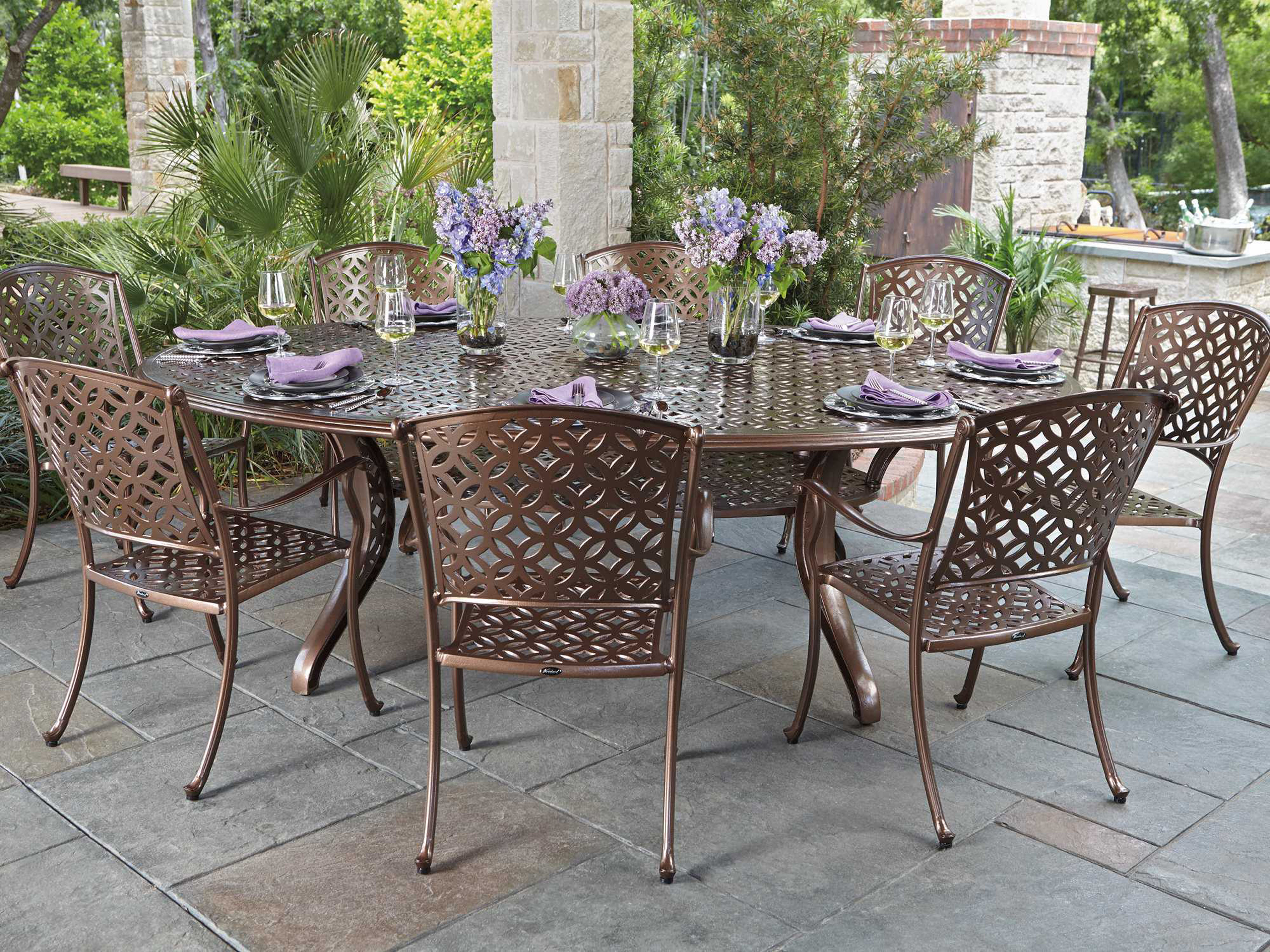 Woodard Casa Cast Aluminum Dining Set Wrcasadinset