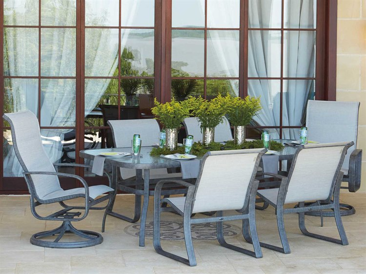 Woodard Cayman Isle Sling Aluminum Dining Set PatioLiving
