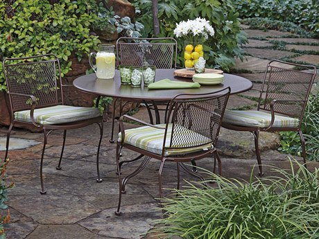 Woodard Constantine Wrought Iron Cushion Dining Set PatioLiving