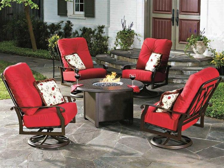 Woodard Cortland Cushion Aluminum Fire Pit Lounge Set PatioLiving