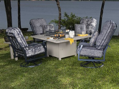 Woodard Cortland Cushion Aluminum Fire Pit Lounge Set