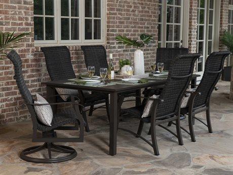 Woodard Cortland Woven Round Weave Aluminum Dining Set PatioLiving