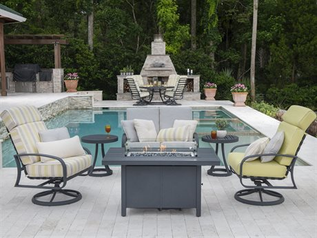 Woodard Cayman Isle Cushion Aluminum Fire Pit Lounge Set