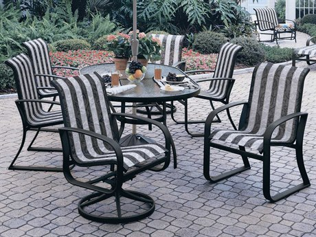 Woodard Cayman Isle Sling Aluminum Dining Set PatioLiving