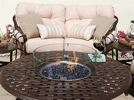 Woodard Derby Cushion Wrought Iron Fire Pit Lounge Set