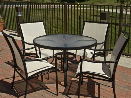 Woodard Dominica Sling Aluminum Dining Set PatioLiving