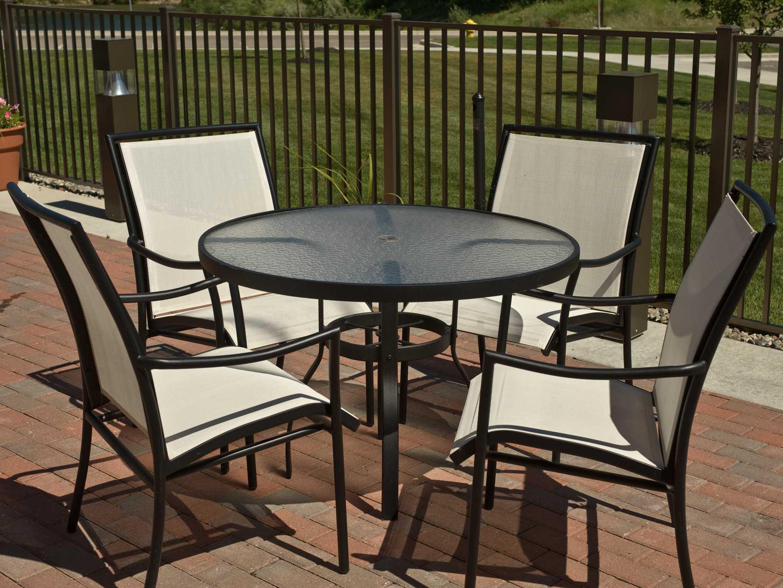 Woodard Sling Patio Furniture.Woodard Dominica Sling Aluminum Dining Set Gfmds