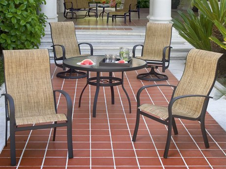 Woodard Fremont Sling Aluminum Dining Set PatioLiving