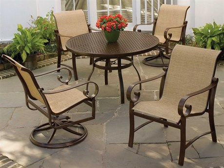 Woodard Belden Sling Aluminum Dining Set PatioLiving