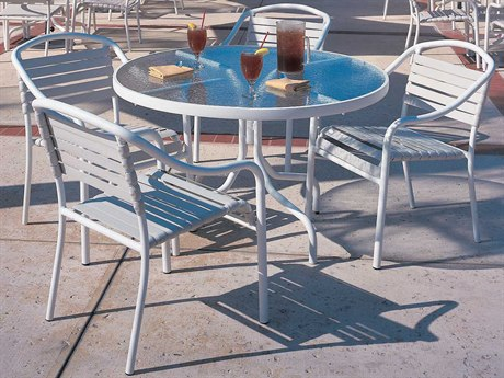 Woodard Baja Strap Aluminum Dining Set PatioLiving