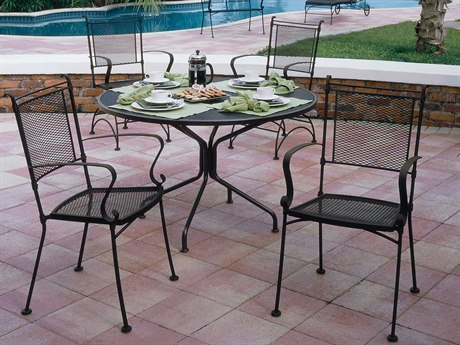 Woodard Bradford Mesh Wrought Iron Dining Set PatioLiving