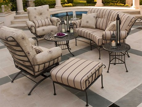 Woodard Terrace Cushion Wrought Iron Lounge Set WRGMICLS