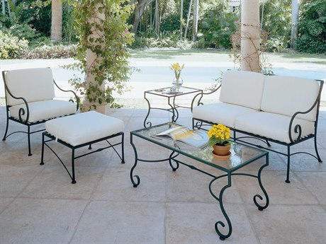 Woodard Sheffield Cushion Wrought Iron Lounge Set PatioLiving