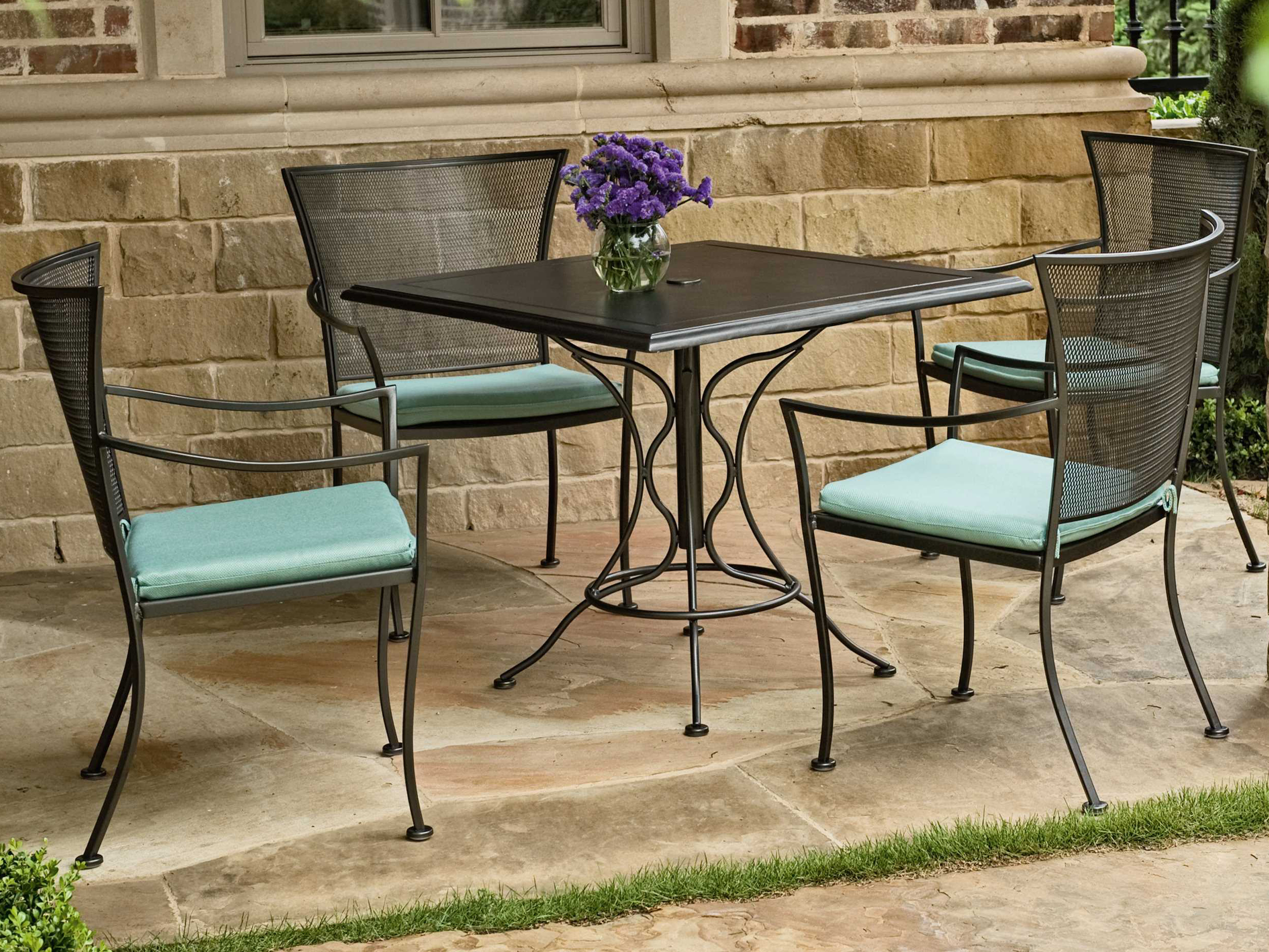 Woodard Amelie Wrought Iron Stackable Bistro Arm Chair