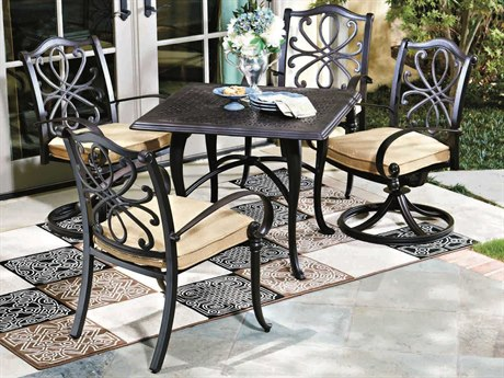 Woodard Holland Cast Aluminum Cushion Dining Set