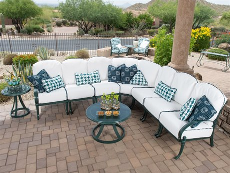 Woodard Holland Cushion Cast Aluminum Sectional Lounge Set