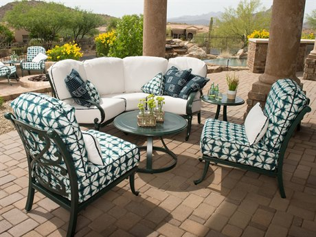 Woodard Holland Cushion Cast Aluminum Lounge Set