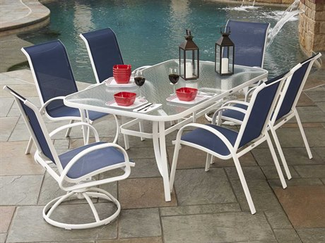 Woodard Exclusive Quick Ship White Aluminum Dining Set