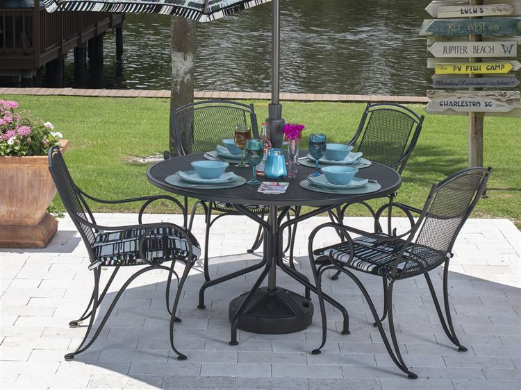 Woodard Modesto Wrought Iron Dining Set PatioLiving