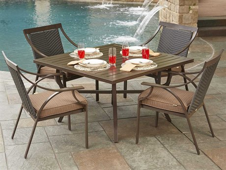 Woodard Exclusive Quick Ship Chestnut Brown Aluminum Dining Set
